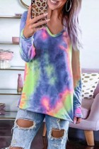 Bomshe V Neck Tie-dye Blue T-shirt