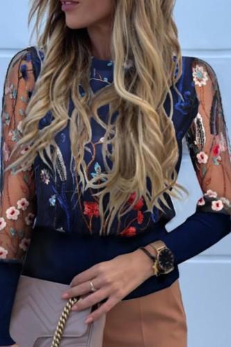 Bomshe O Neck Embroidered Patchwork Dark Blue Blouse