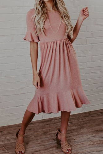 Bomshe Flounce Fold Design Dark Pink Midi Dress