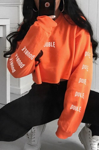 Bomshe O Neck Letter Orange Sweatshirt