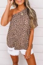 Bomshe One Shoulde Print Brown T-shirt