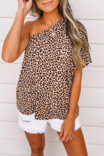 Bomshe One Shoulde Print Brown T-shirt