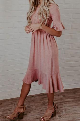 Bomshe Flounce Fold Design Dark Pink Midi Dress