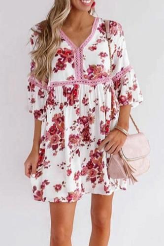 Bomshe V Neck Floral Print White Mini Dress