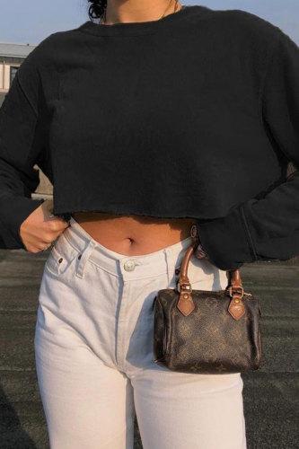 Bomshe O Neck Basic Black Sweatshirt(3 Colors)