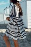 Bomshe Babydoll Striped Design Loose White Mini Dress