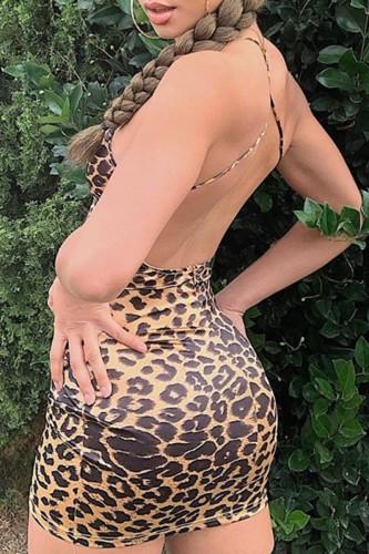 Bomshe Leopard Print Skinny Mini Dress