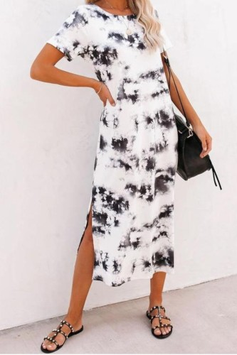 Bomshe Tie-dye Print Side Slit White Midi Dress
