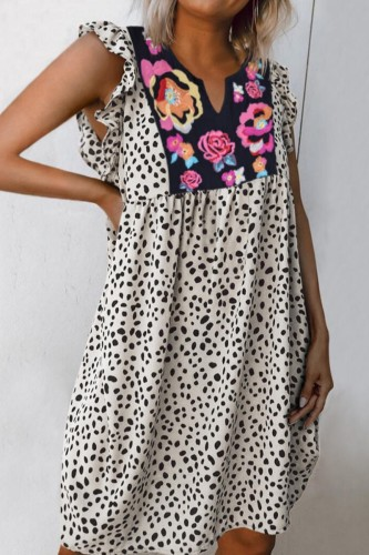 Bomshe Embroidery Leopard Print Patchwork Mini Dress(5 Colors)