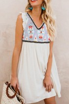 Bomshe  V Neck Print Patchwork White Dress