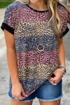 Bomshe Striped O Neck Leopard Print T-shirt