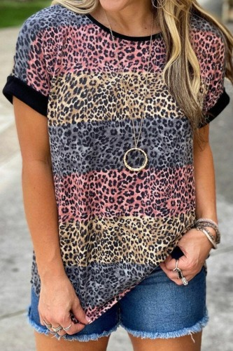 Bomshe Striped O Neck Leopard Print T-shirt
