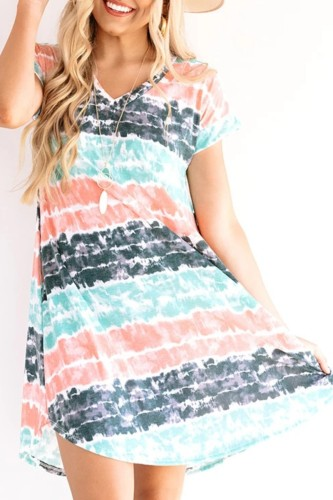 Bomshe V Neck Striped Print Multicolor Mini Dress(2 Colors)