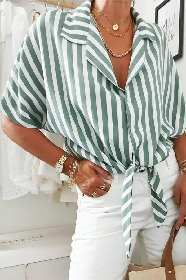 Bomshe Turndown Collar Striped Green Shirt