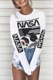 Bomshe O Neck Letter Print White T-shirt
