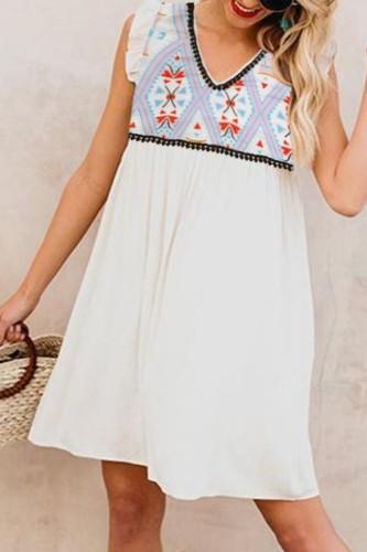 Bomshe V Neck Print Patchwork White Dress
