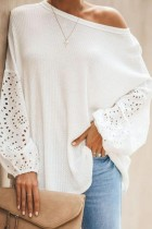 Bomshe O Neck Patchwork White Sweater
