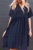 Bomshe Babydoll Pocket Patched BlueMini Dress(2 Colors)