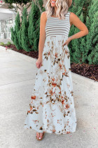 Bomshe Striped Floral Print Patchwork White Maxi Dress(3 Colors)