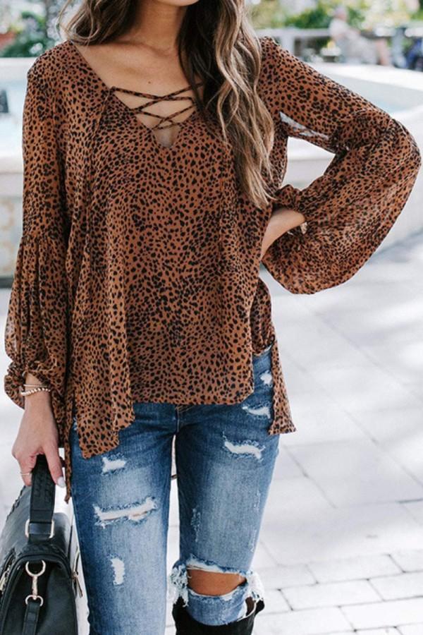 Bomshe V Neck Leopard Print Brown Blouse(3 Colors)
