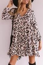 Bomshe V Neck Leopard Print Mini Dress