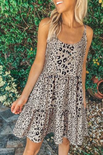 Bomshe Print Light Camel Mini Dress