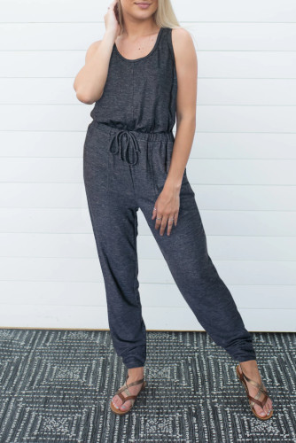 Bomshe Lace-up Dark Grey One-piece Jumpsuit