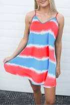 Bomshe V Neck Tie-dye Striped Multicolor Mini Dress