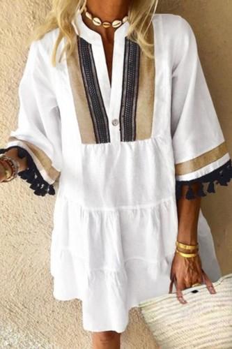 Bomshe Patchwork Tassel Design White Mini Dress