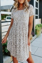 Bomshe Smocked Waisted Leopard Print Beige Mini Dress