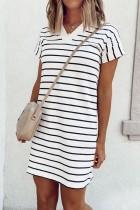 Bomshe V Neck Striped Black Mini Dress