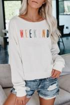 Bomshe O Neck Letter Print White Sweatshirt