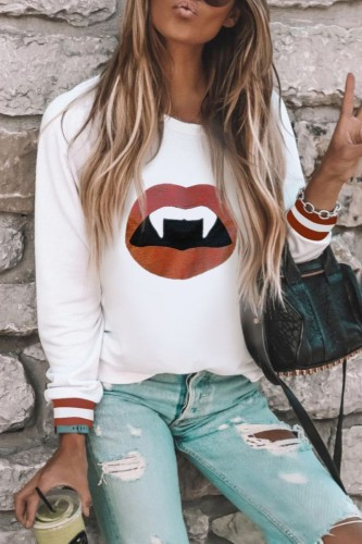 Bomshe O Neck Lip Print White Sweatshirt