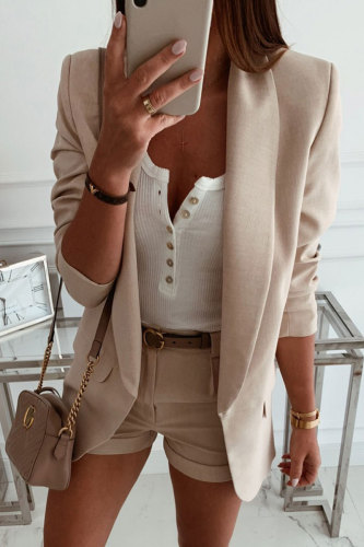 Bomshe Pocket Patched Basic Apricot Blazer