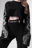 Bomshe O Neck Print Black Sweatshirt