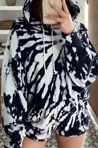 Bomshe Hooded Collar Tie-dye Black And White Two-piece Shorts Set