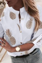 Bomshe Pineapple Print White Blouse