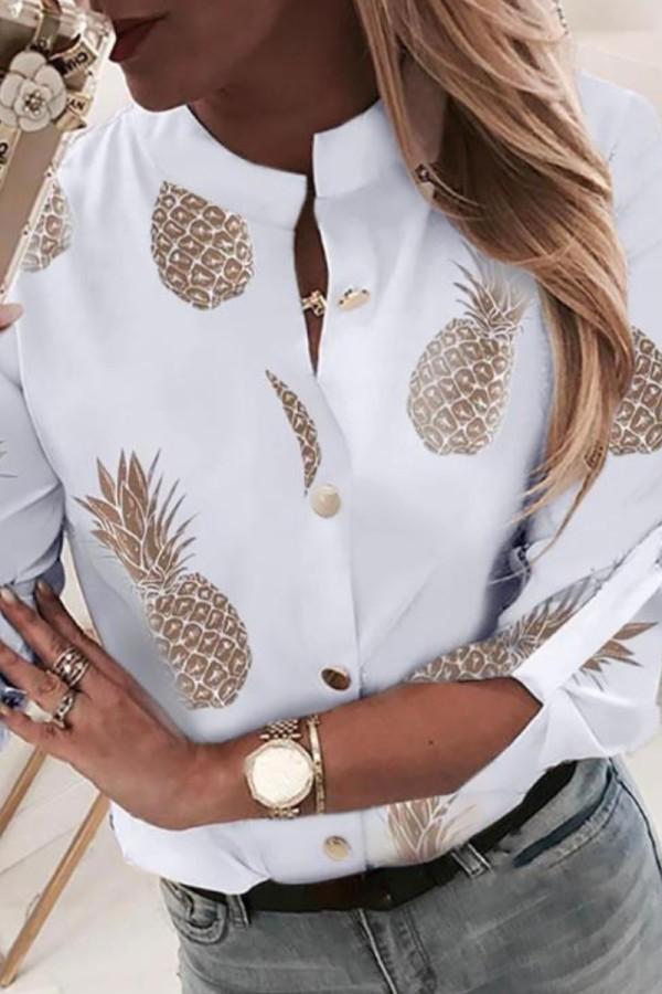 Bomshe Pineapple Print White Blouse