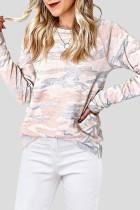 Bomshe O Neck Camo Print Khaki Sweatshirt(2 Colors)