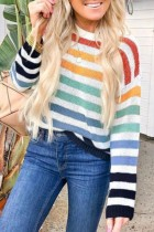 Bomshe Rainbow Striped Multicolor Sweater