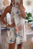 Bomshe Turtleneck Plants Print White Mini Dress