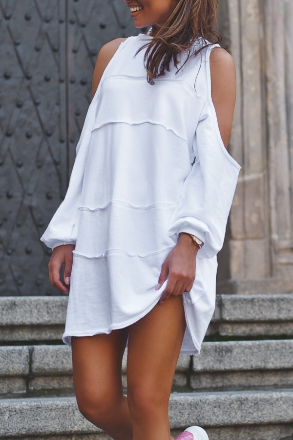 Bomshe Cold Shoulder Hollow-out White Mini Dress