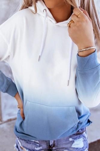Bomshe Hooded Collar Gradient Blue Hoodie