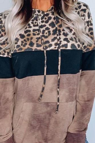 Bomshe Hooded Collar Print Patchwork Brown Hoodie