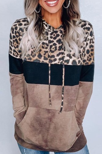 Bomshe Hooded Collar Print Patchwork Brown Hoodie