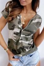 Bomshe Buttons Design Camo Print T-shirt