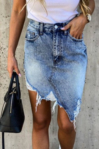 Bomshe Torn Edges Asymmetrical Baby Blue Denim Skirt