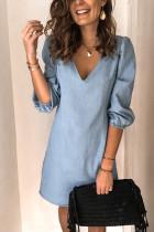 Bomshe Deep V Neck Basic Baby Blue Mini Dress