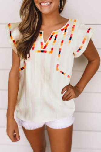 Bomshe Embroidered White Blouse