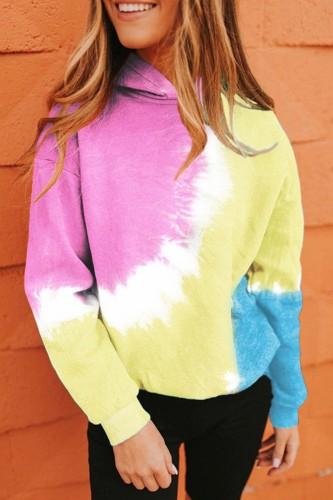 Bomshe Hooded Collar Tie-dye Pink Hoodie